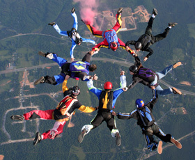Expert skydivers in formation above Georgia!
